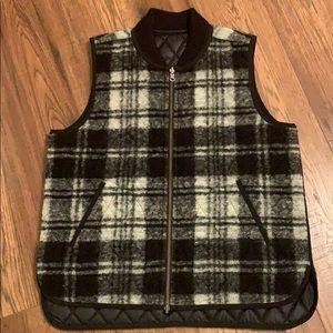 Reversible Plaid And Black Vest